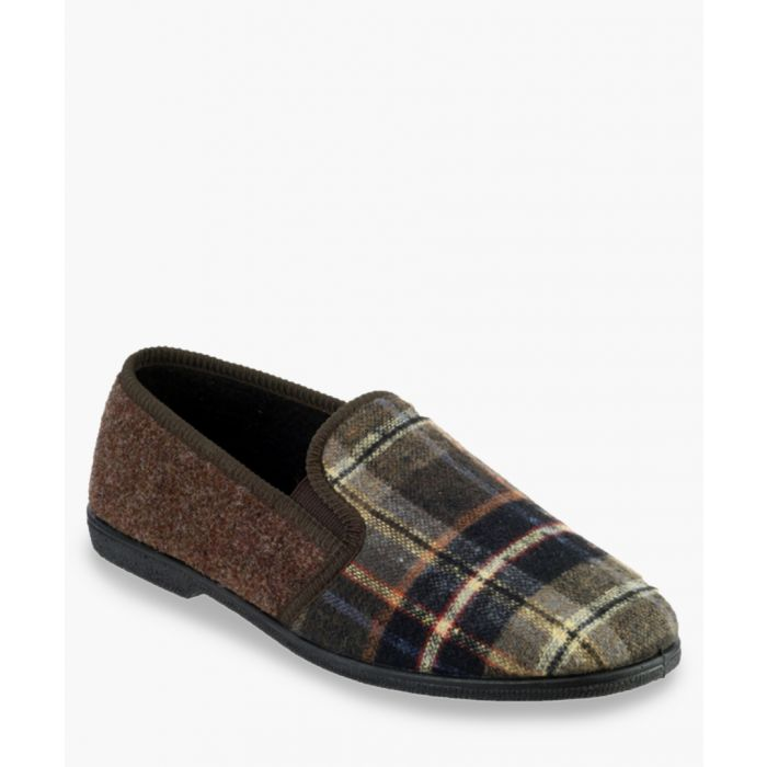 Image for Mens brown check slippers