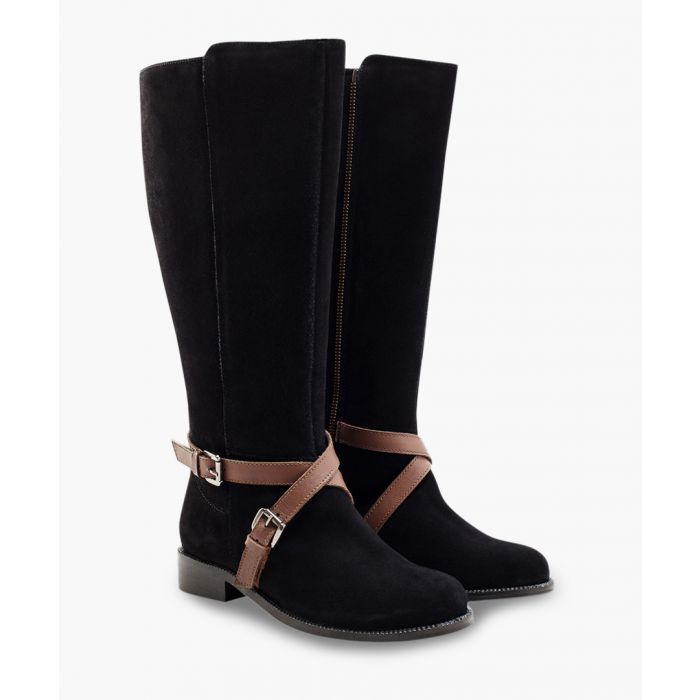 Image for Tan buckle wedge zip-up boots