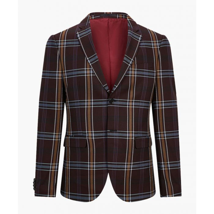 Image for Purple check skinny suit jacket