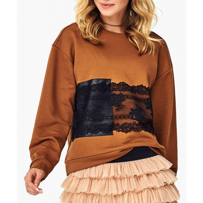 Image for Camel cotton blend blouse