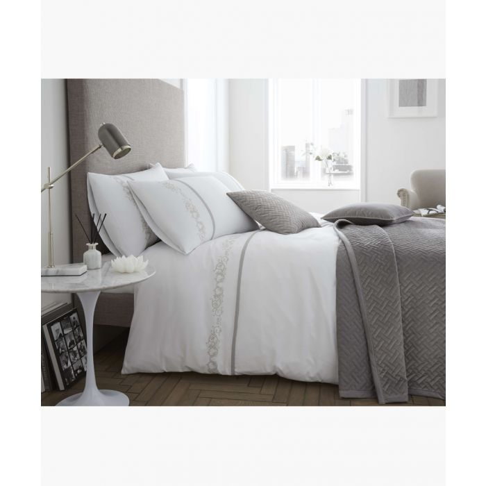 Image for Louisa white cotton double duvet set