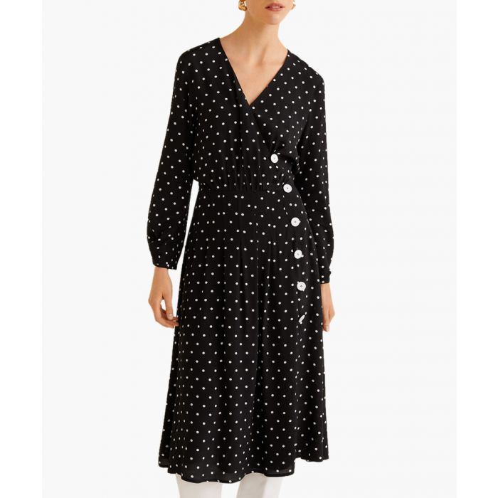 Image for Black polka-dot flared dress