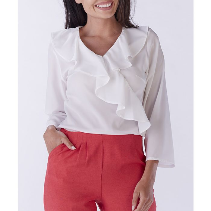 Image for White frill V-neck blouse