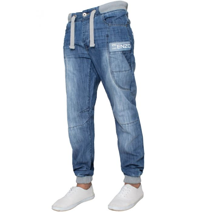 Image for Mens Cuffed Fit Denim Jeans | Enzo Designer Menswear