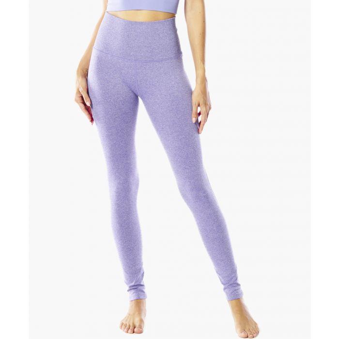 Image for Purple Ribbed Waste Band Legging