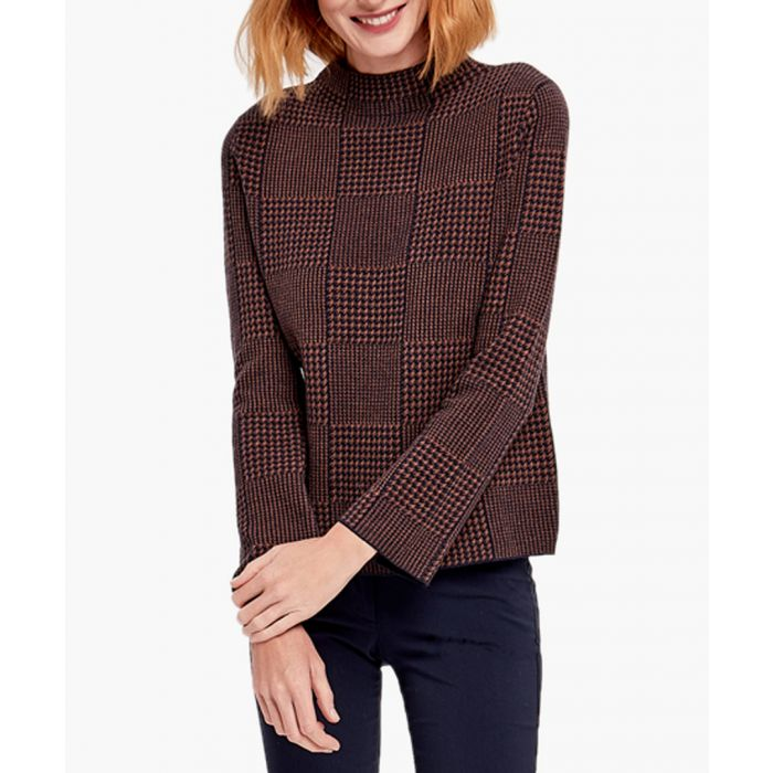 Image for Navy and brown cashmere blend jumper