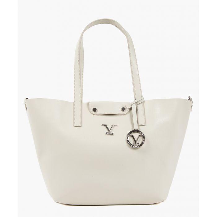 Image for Cream leather trapeze shopper bag