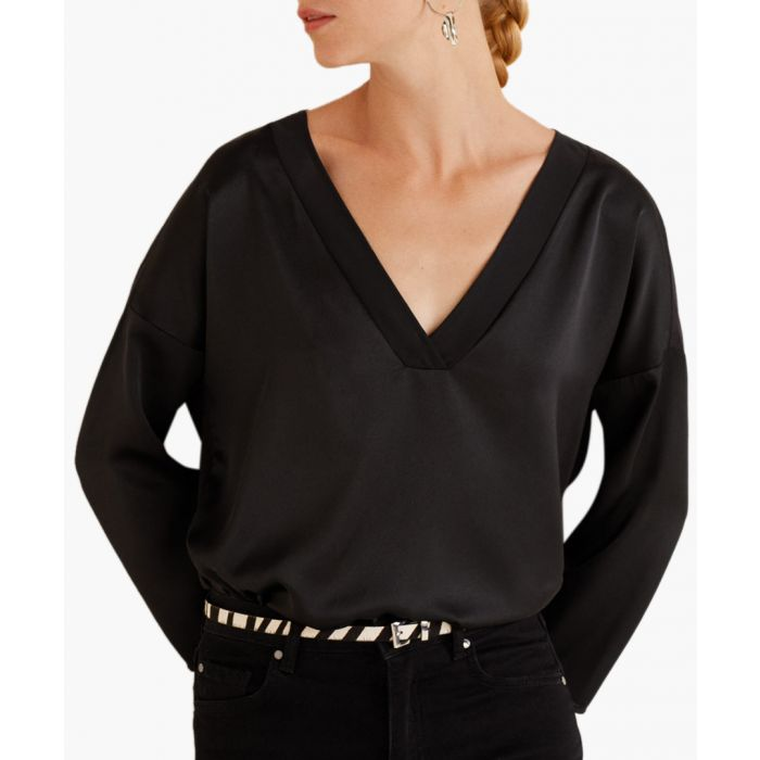 Image for Black satin V-neck T-shirt