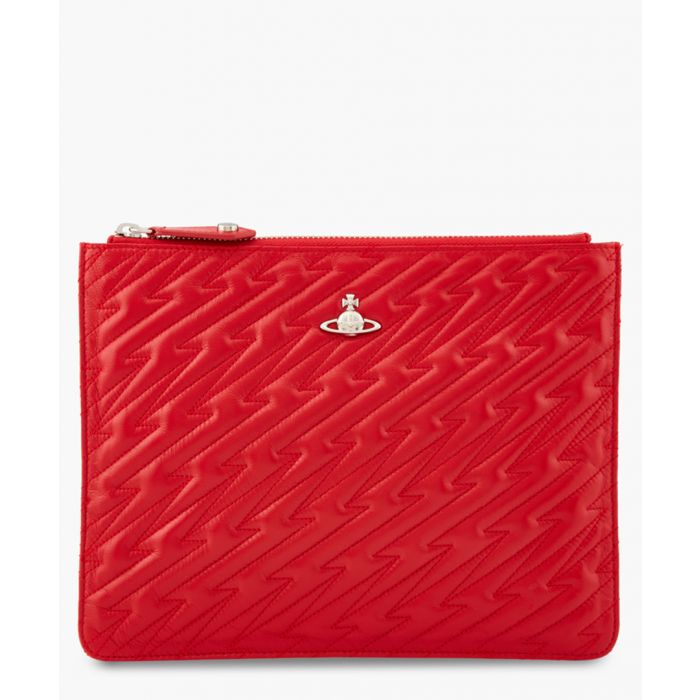 Image for Coventry red quilted pouch