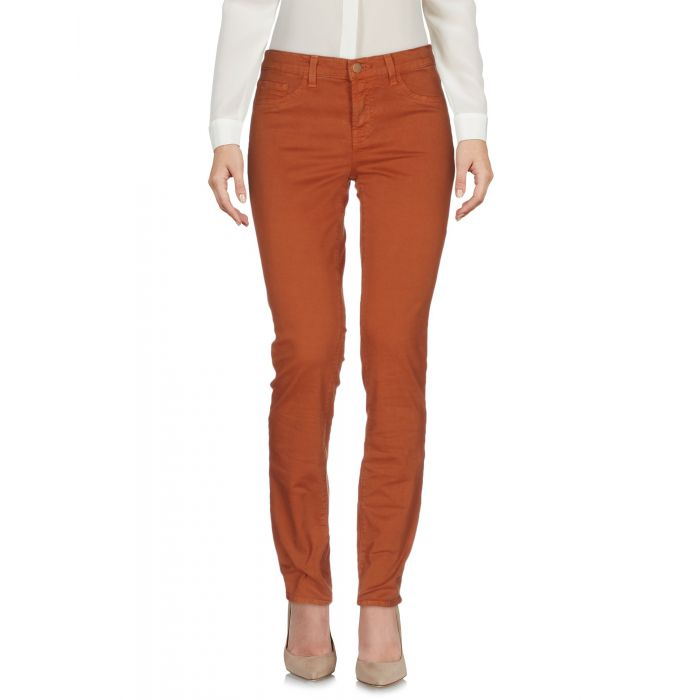 Image for Brown cotton low-rise slim fit trousers