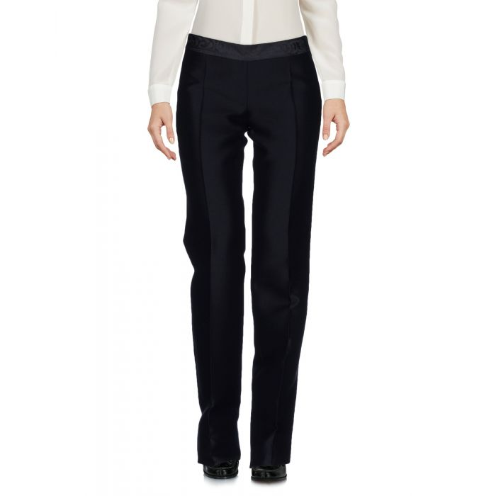 Image for Black mid-rise straight-leg wool-silk blend trousers