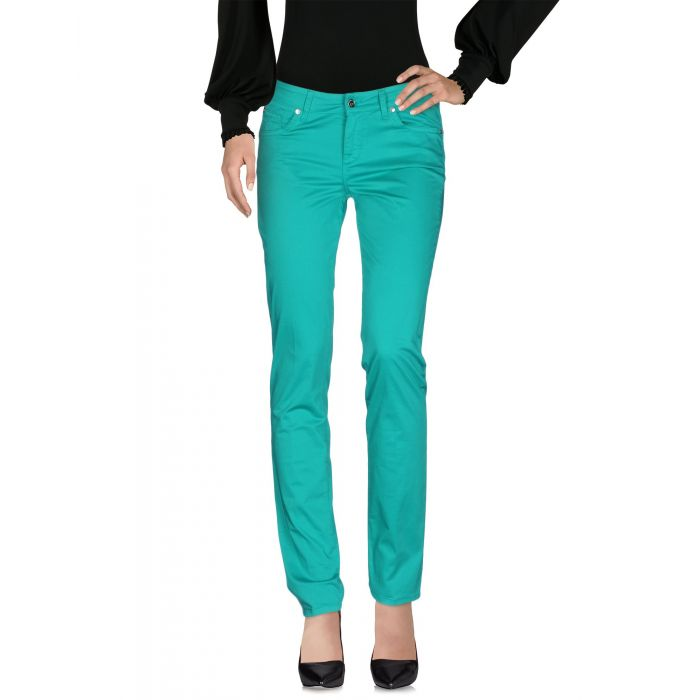 Image for Emerald green mid-rise slim fit trousers