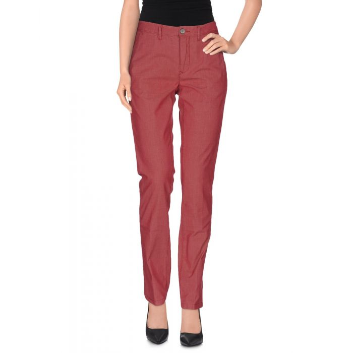 Image for Brick red cotton and silk blend trousers