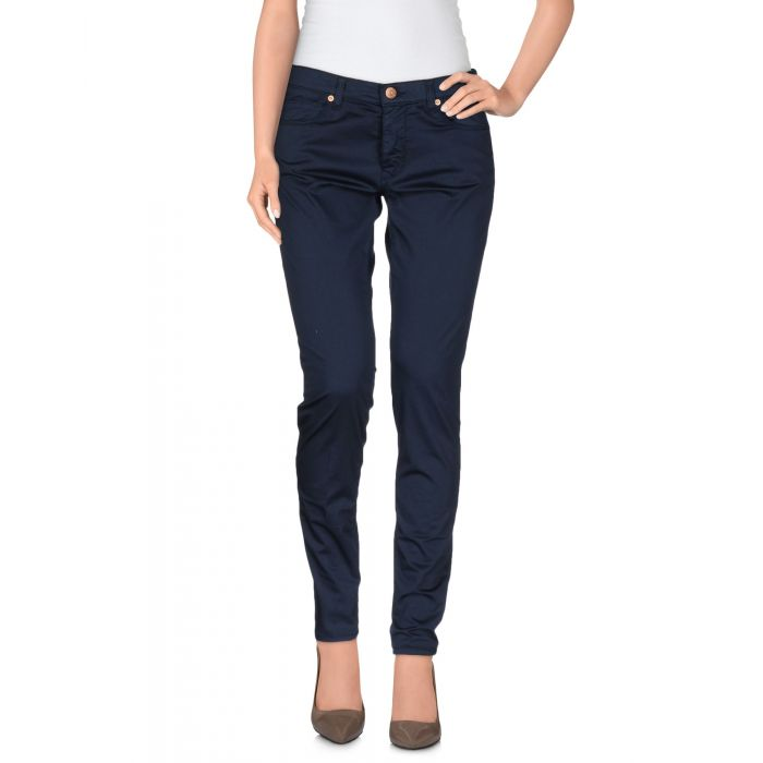 Image for Blue mid-rise slim fit stretch-cotton trousers