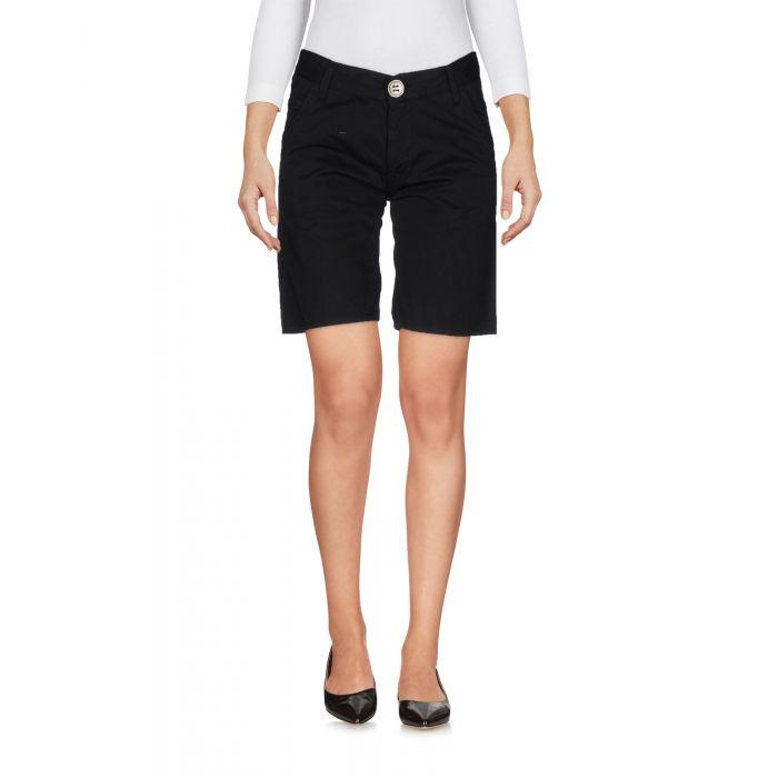 Image for Black low-rise cotton bermuda shorts