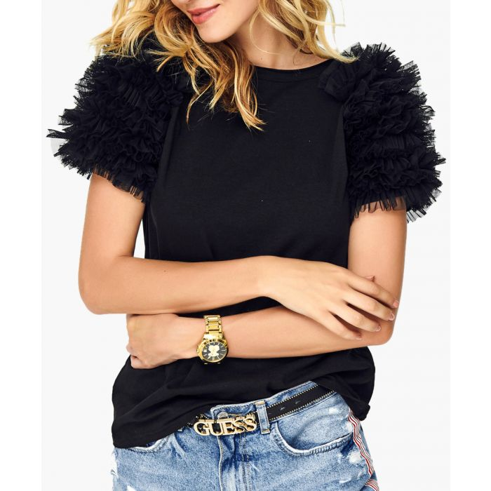 Image for Black cotton blend blouse