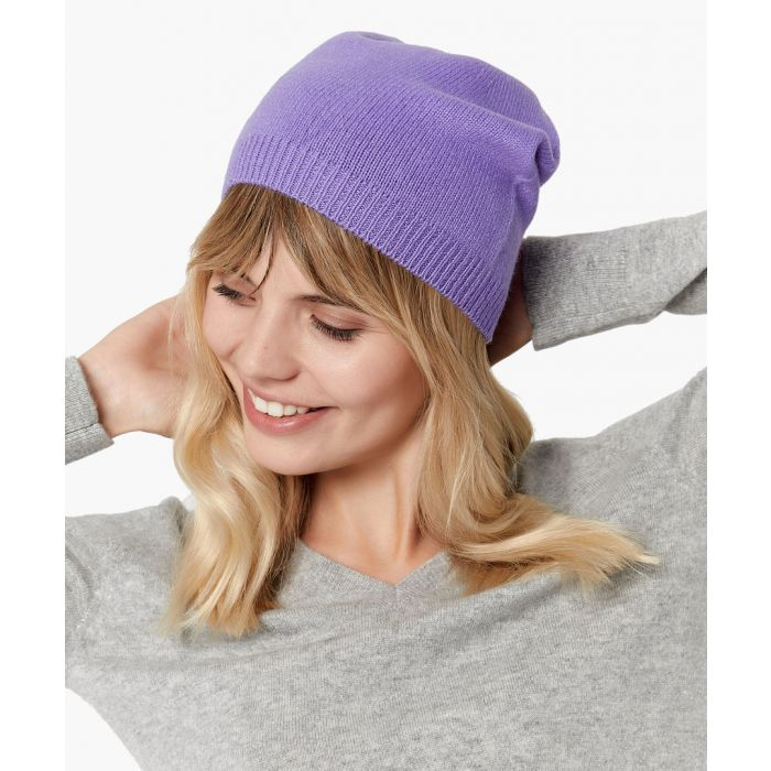 Image for Purple pure cashmere hat