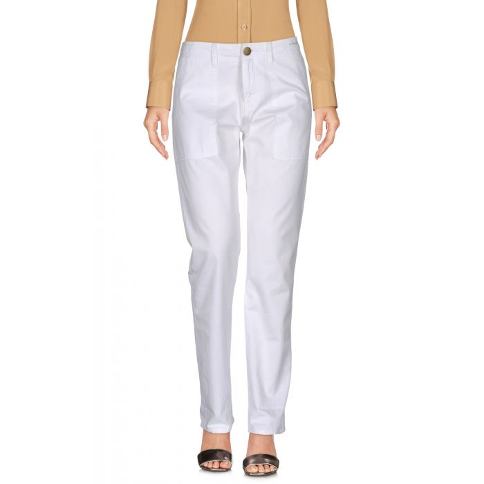 Image for White cotton mid-rise trousers