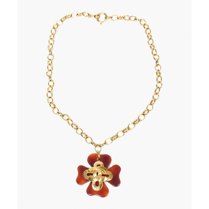 Image for Vintage Lucite Flower yellow logo necklace