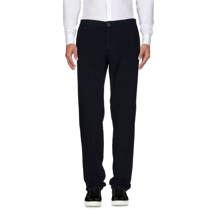 Image for Dark blue cotton tapered slim fit trousers