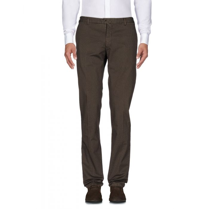 Image for Dark brown cotton mid-rise slim fit trousers