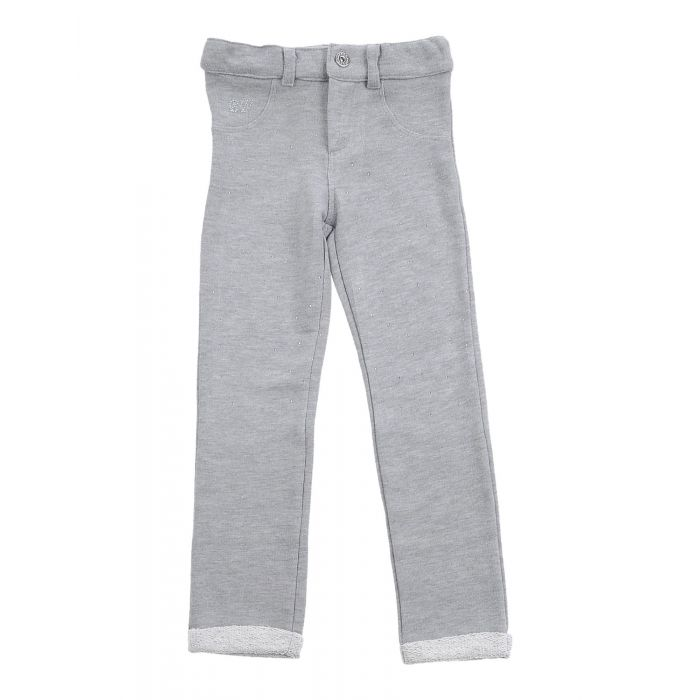 Image for Grey cotton-blend fleece trousers