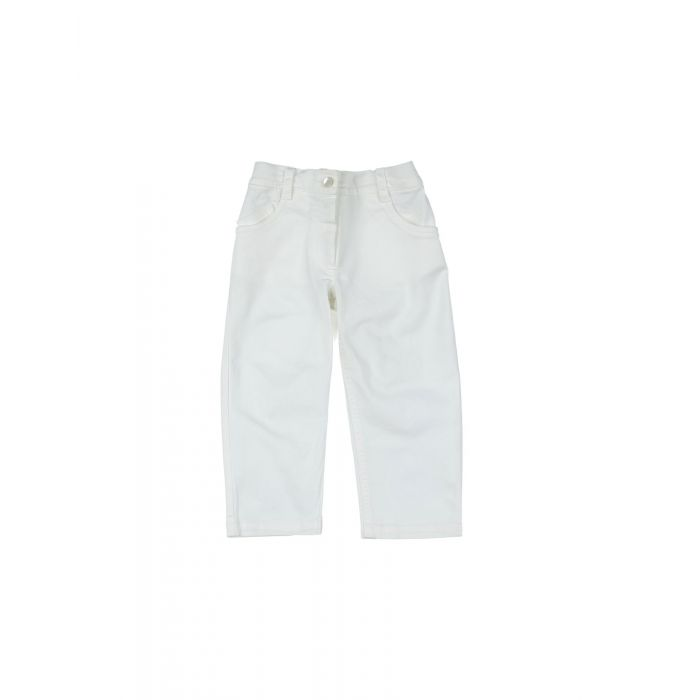 Image for White stretch-cotton gabardine trousers