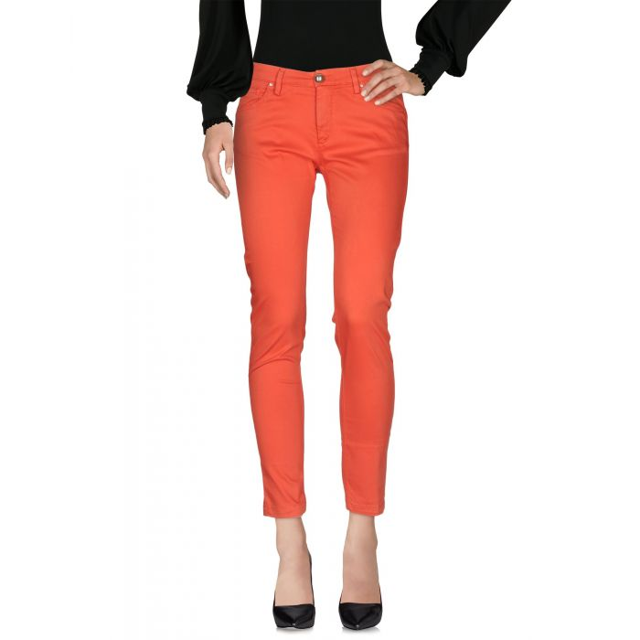 Image for Red cotton blend mid-rise trousers