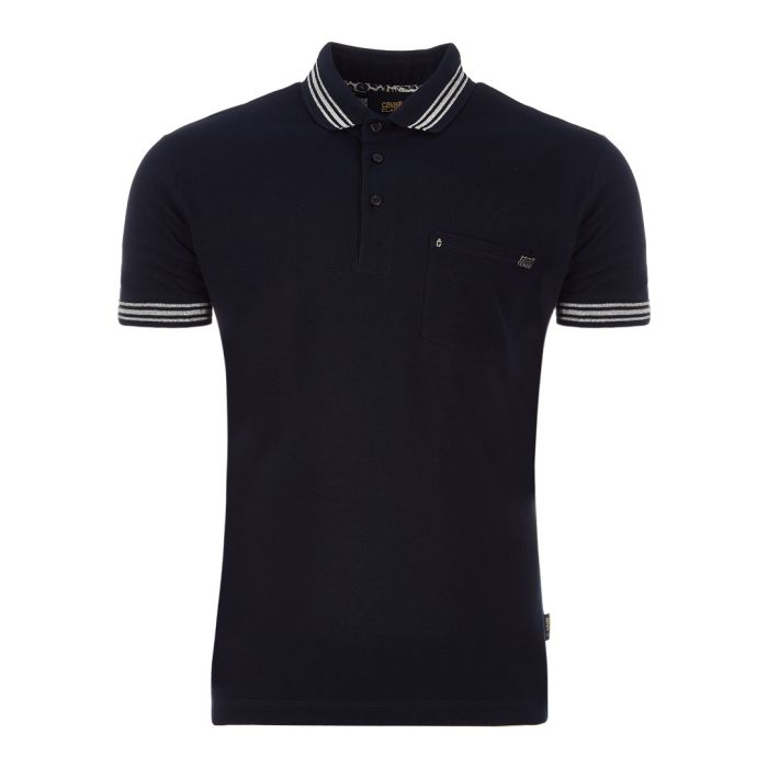 Image for Navy pure cotton stripe polo