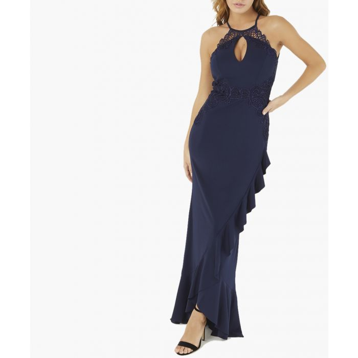 Image for Navy ruffled hem fitted dress