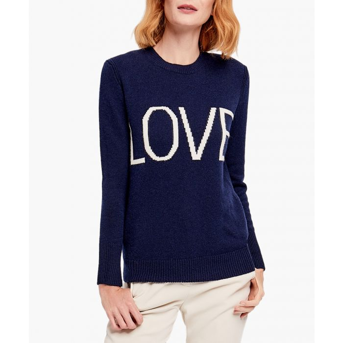 Image for Navy pure cashmere Love jumper