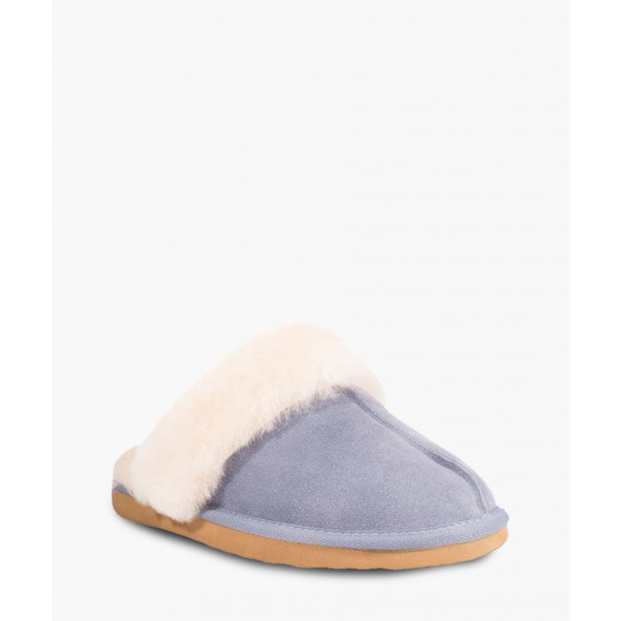 Image for Blue suede sheepskin slippers