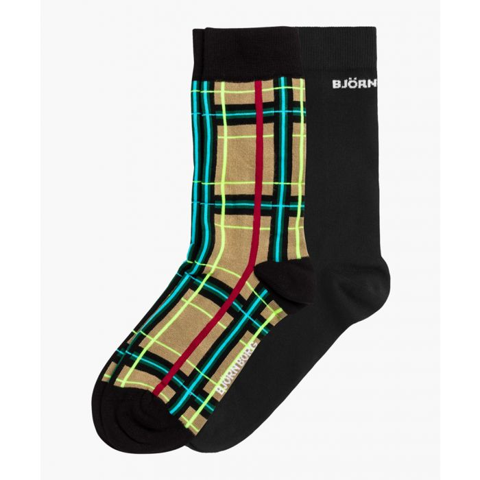 Image for Multi-coloured tartan bamboo-viscose blend ankle socks