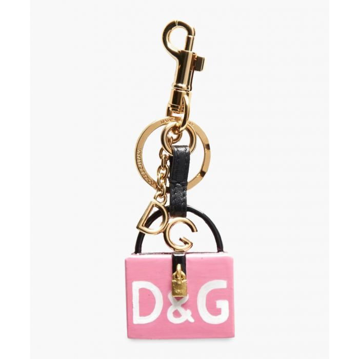 Image for Dolce Box pink leather and brass keyring