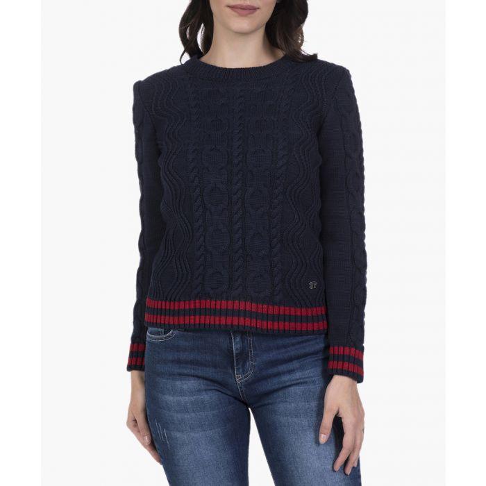 Image for Navy blue cotton blend jumper