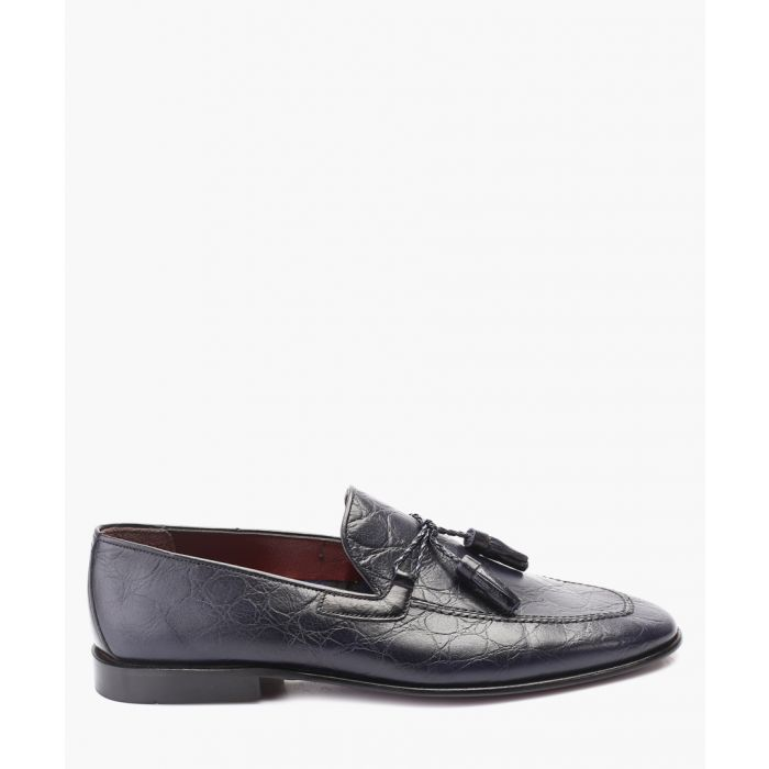 Image for Blue leather tassel front loafers