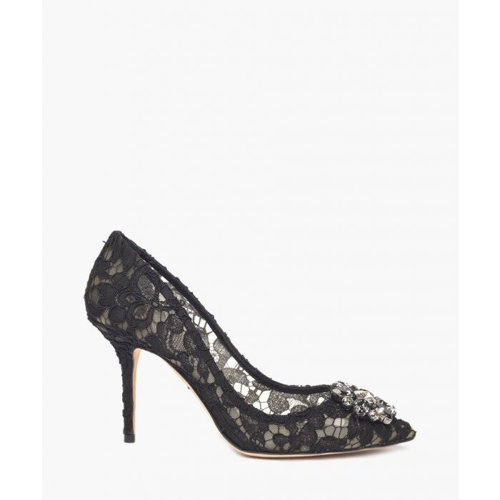 Image for Belluci black Taormina lace and crystal pumps