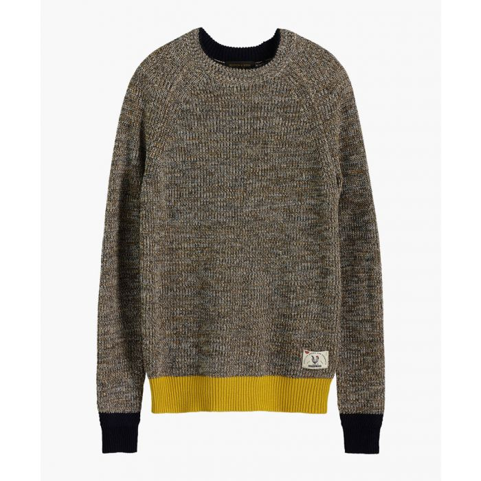 Image for Brown melange cotton rib-knit crew neck jumper