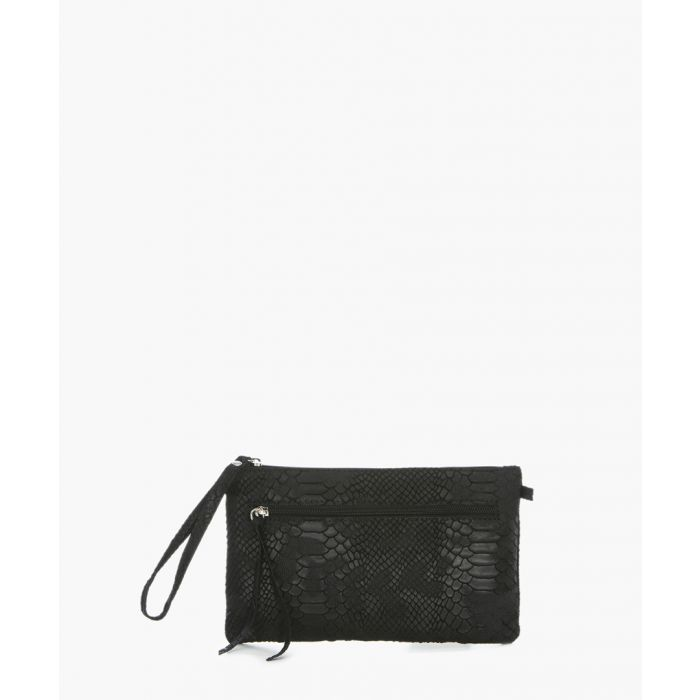 Image for Marla black leather clutch