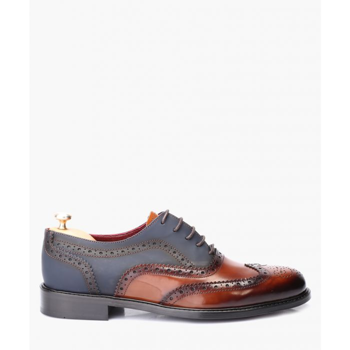 Image for Tan and blue leather oxford brogue shoes