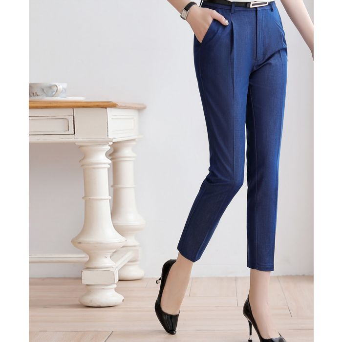 Image for Navy tapered trousers