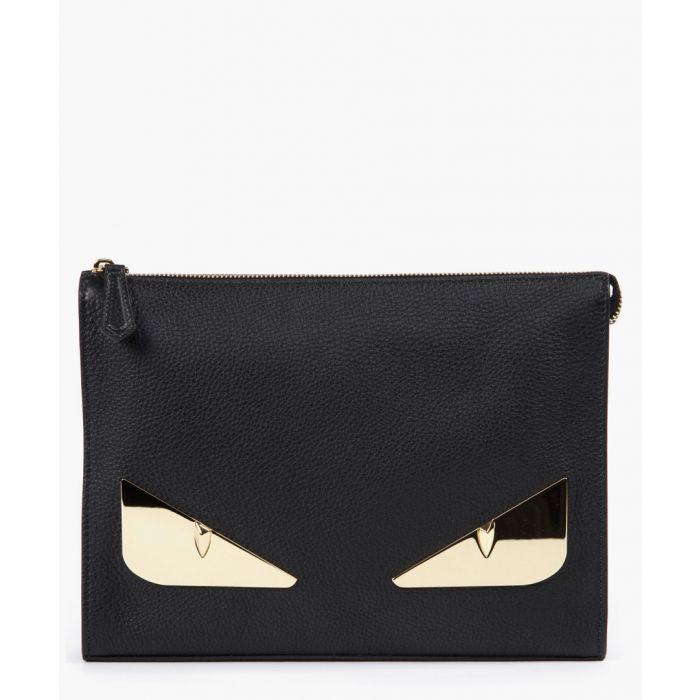 Image for Bugs black and gold leather pouch bag
