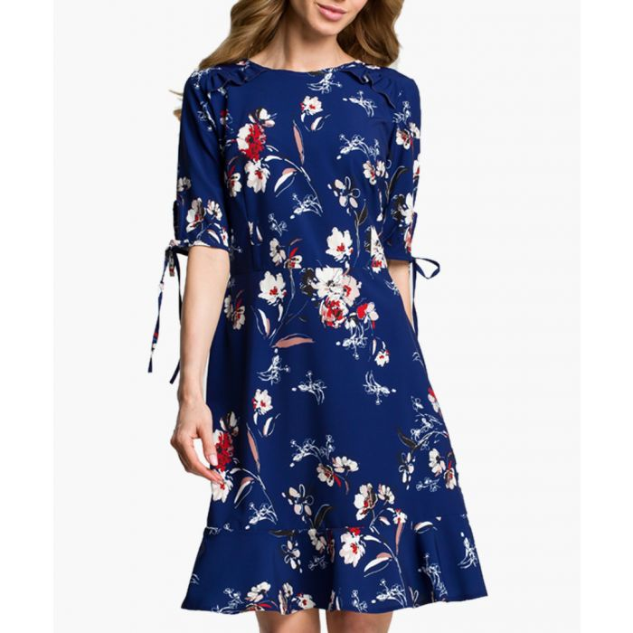 Image for Navy blue and multicolour floral print dress
