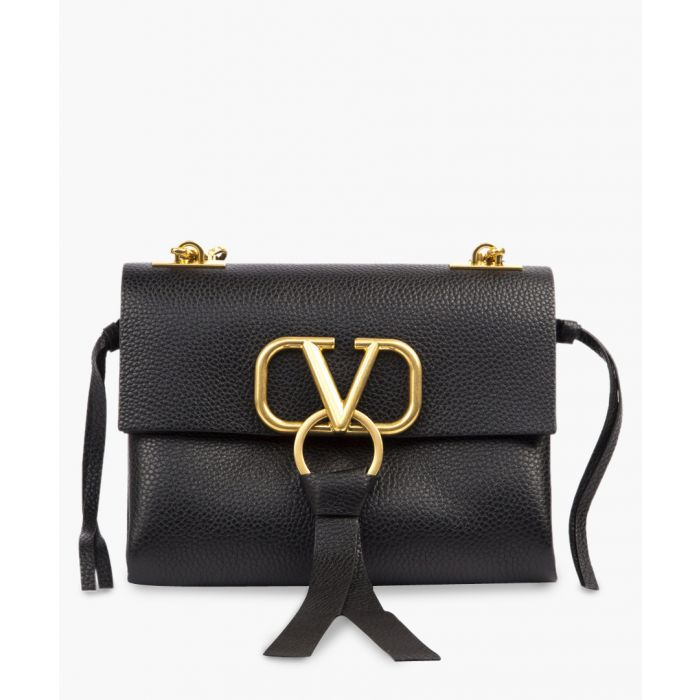 Image for Black leather V ring shoulder bag