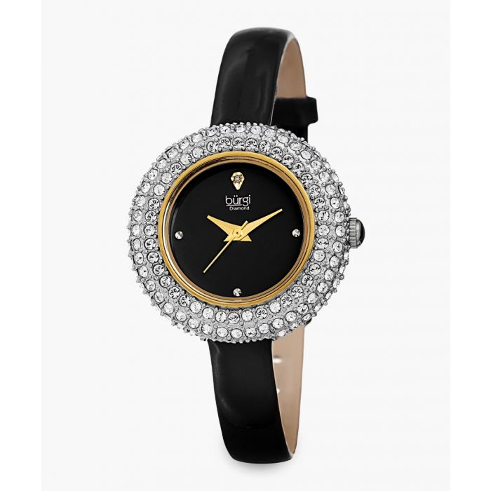 Image for Stainless steel, Swarovski crystal and leather watch