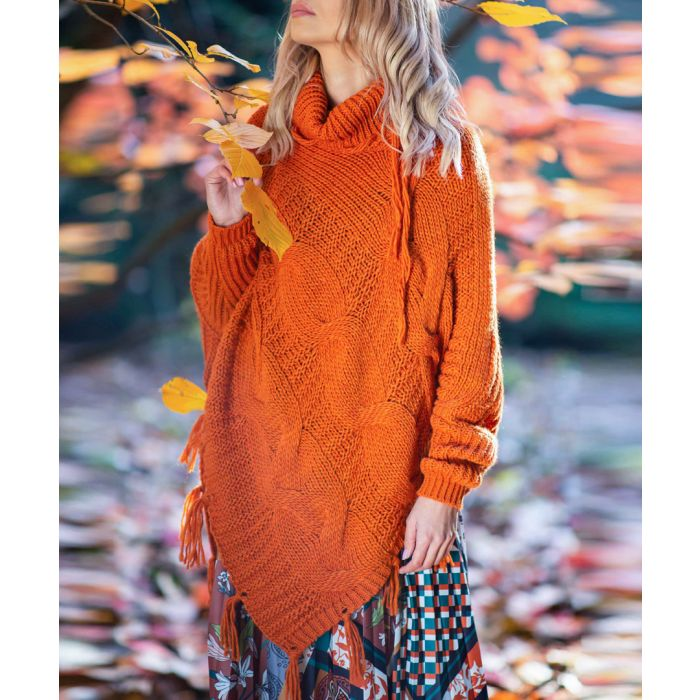 Image for Orange knitted alpaca and wool blend poncho