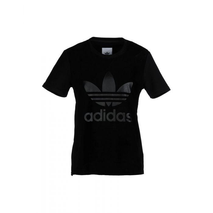 Image for Black cotton trefoil T-shirt