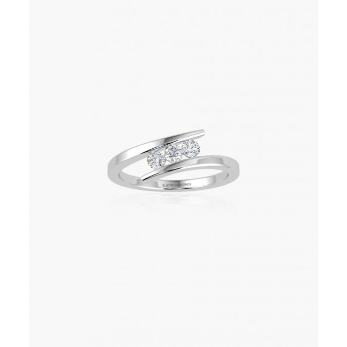 Image for 9k white gold and 0.25ct triple diamond ring