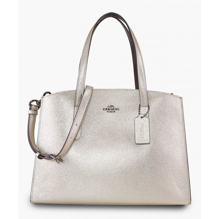 Image for Platinum-tone leather shoulder bag