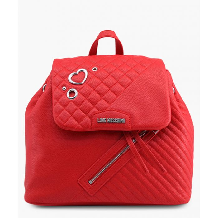 Image for Red faux-leather backpack